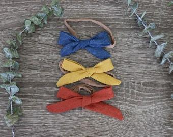 Linen & Denim Bow Set- Baby Headbands
