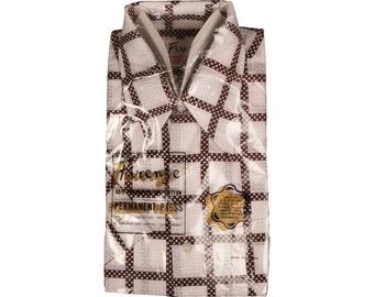 Vintage 1970s Deadstock Mens  Polka Dot Checked Shirt,  NOS, Short Sleeved - M