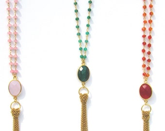 The AVA Necklace, 18k Vermeil necklace, gold necklace, tassel necklace, emerald necklace, chain necklace, tassel necklace, long necklace
