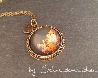 Bronze flower Orange necklace