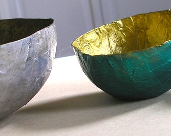 Paper Mache Bowls Set of Three Green, Silver, and Red. Metallic Paints. Great Hostess or Birthday Gift.