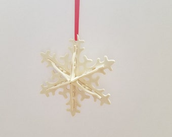 snowflake, christmas ornament, wood ornament, 3D snowflake, unfinished wood, christmas