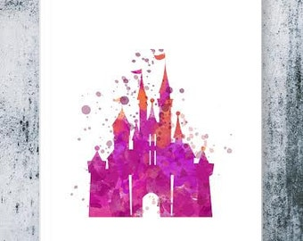 Disney castle print Cinderella's Castle Pink, Fairytale Nursery, disneyland poset disney Watercolor Print, Baby Nursery Wall disneyland art