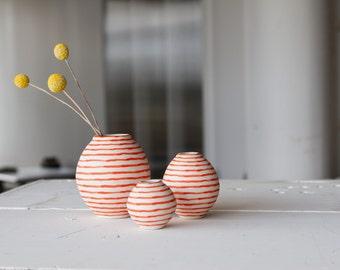 Bud Vase Set, Porcelain Bud Vase, Ceramic Bud Vase,  Bud Vase, Orange Stripes,  Handmade by Sarah Hicks