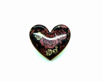 Heart Brooch - Purple Roses