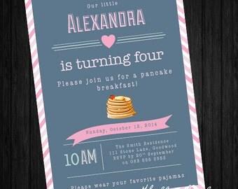 Pancakes & Pajamas party invitation