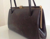 Brown Leather Handbag 1960s Suede Interior Mod Scooter Girl Northern Soul