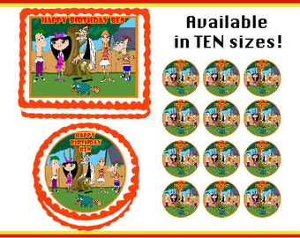 Phineas and Ferb Edible Birthday Cake Cupcake Cookie Topper Party Decoration Icing Sheets