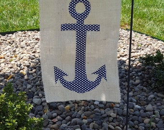 Burlap Summer Anchor Garden Flag