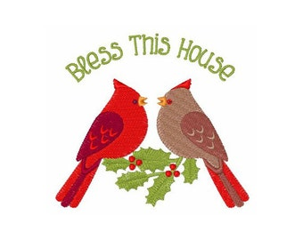 Bless This House Cardinal Birds - machine embroidery design