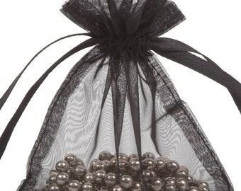 100 Black Organza Gift Pouch Wedding Favour Bag Jewellery Pouch- 6 Sizes