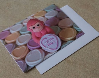 A6 Greetings card, Think Pink