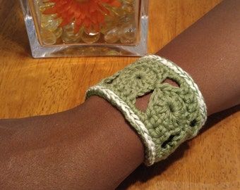 Green Crocheted Cuff Bracelet