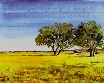 2004 West-Old Ranch watercolor print from original by seller, signed
