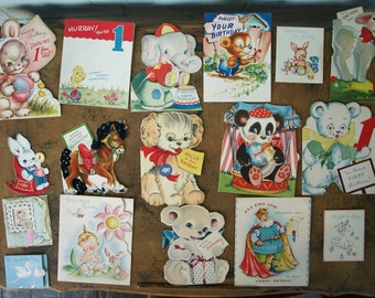 Lot of Vintage Birthday Cards – Most are 1st Birthday – Circa 40's
