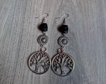 Earrings dangling pagan Ewena, skulls, howlite, wicca, tree of life