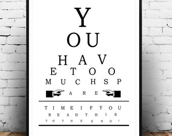 Too Much Time Eye Chart, Poster, Vintage Eye Chart, Eye Chart Art Print,  Printable Digital Download