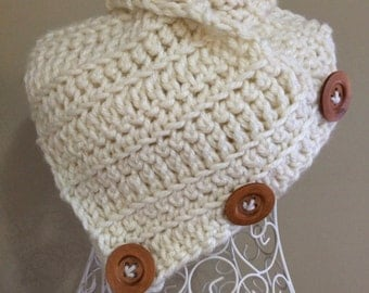 Crochet button scarf, rustic chunky style