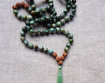 Connection to Earth Jasper Africaine, Rudraksha mala