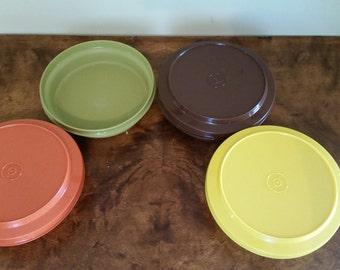 Vintage Tupperware Bowls with Lids Golden Harvest Colors