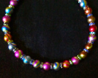 Multicolor Necklace with Rhinestone Spacers