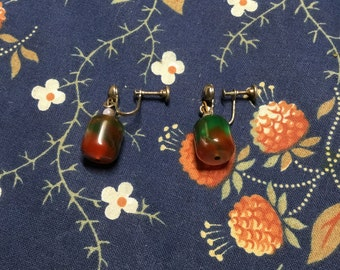 Multi-Colored Lucite Drop Earrings