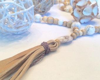 Boho Suede Tassel Necklace/ Suede Tassel