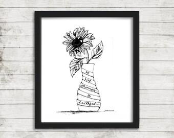 He Is Faithful, Printable Wall Art, Floral Print, Inspirational Art, Modern Wall Art, Instant download, Home Decor, Sunflower Art