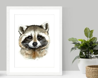 Raccoon Watercolor Print | Raccoon Art | Raccoon painting | Raccoon print | Woodland theme | woodland decor | kids decor | nursery decor