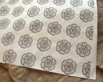 Brown Floral Medallion Pattern Woodblock Printed Lokta Paper Sheet 20x30 inches