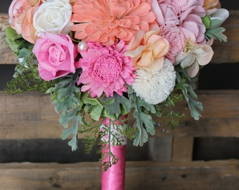 Wedding Bouquet - Bright Pink Collection, Sola Bouquet, Alternative Wedding, Forever Bouquet, Sola Flowers, Sola Flower