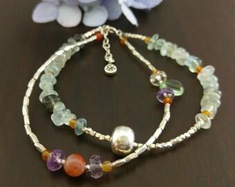 Aquamarine,Agate,Rainbow Fluorite,Tiny Faceted Beaded Handmade Silver Bracelet,Double Strand Bracelet,Blue,Green,Purple,Orange Bracelet