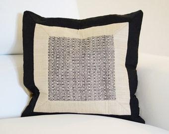 Woven Center Pillow Cover   Decorative Accent Pillow   16x16 Pillow Cover   Tusser Silk
