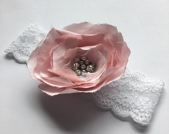 Pink flower headband pink flower stretch headband baby headband lace headband pale pink flower girl headband baby girl toddler photo prop
