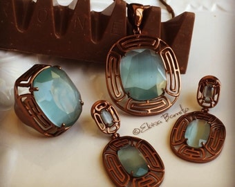 Gold Chocolate Filled Jewelry Set with Alexandrite Cat eye  - Ring Sizes 6.5 and 8 - FREE SHIPPING*