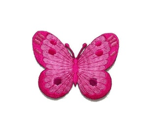 iron on/sew on Magenta Pink Butterfly appliques, embroidered patch, insect motif, 7 x 5.5 cm., moth fabric decorations, adhesives (M-213)