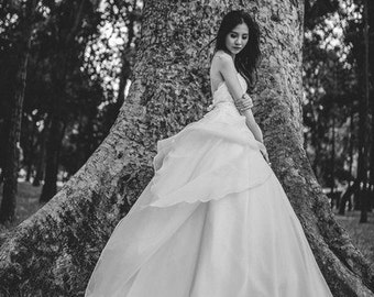 Nicole Bridal - Flowing Organza with gorgeous long train
