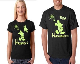 Halloween Disney Family Shirts, Glow in the Dark ,Matching Family T-Shirts for Halloween, Disney Horror Nights