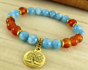Karma Bracelet Aquamarine Bracelet Tree Of Life Jewelry Carnelian Bracelet Yoga Bracelet Fertility Jewelry Sacral Chakra Healing Yoga Stones