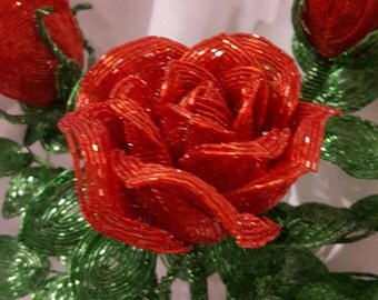 Floral arrangement of beads.