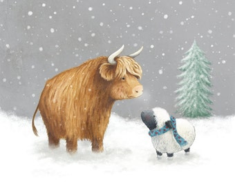 Highland family in the Snow - A Snowy Winter - High Quality Fine Art Print