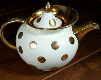 1950's Vintage Hall Windshield Teapot Cream with Gold Polka Dots