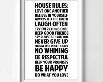Poster poster of the rules of the House, house rules, original decoration for the House.