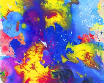 Print of acrylic painting (flow) by Livi Travelle