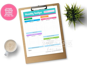 "Monthly budget planner insert, printable. Month expenses register. US Letter (8.5"" x 11"") Size, Portrait. Instant download."