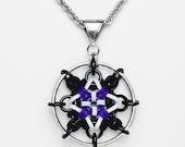 SALE - Dreamcatcher Pendant - black and purple and white