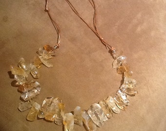 necklace of citrine spikes and adjustable leather cord