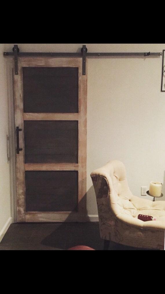 Three panel horizontal plank barn door from
