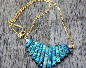 Abalone tiered necklace