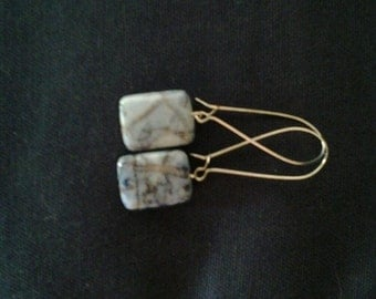 Square Shaped  Stone Earrings